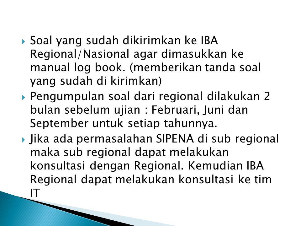 Soal yang sudah dikirimkan ke IBA Regional/Nasional agar dimasukkan ke manual log book. (memberikan tanda soal yang sudah di kirimkan)  Pengumpulan