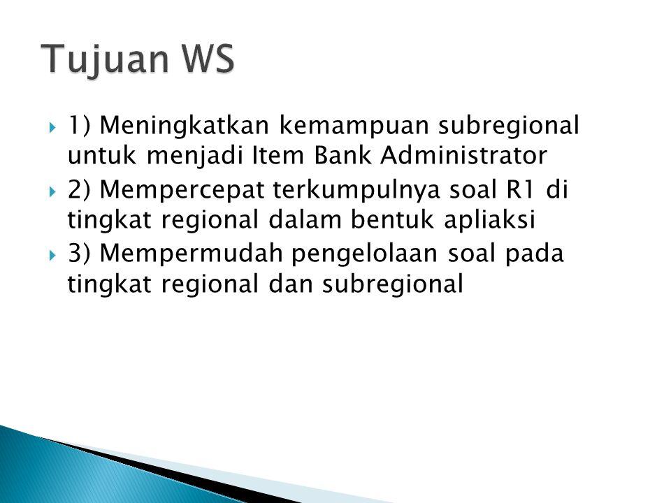 1) Meningkatkan kemampuan subregional untuk menjadi Item Bank Administrator  2) Mempercepat terkumpulnya soal R1 di tingkat regional dalam bentuk a