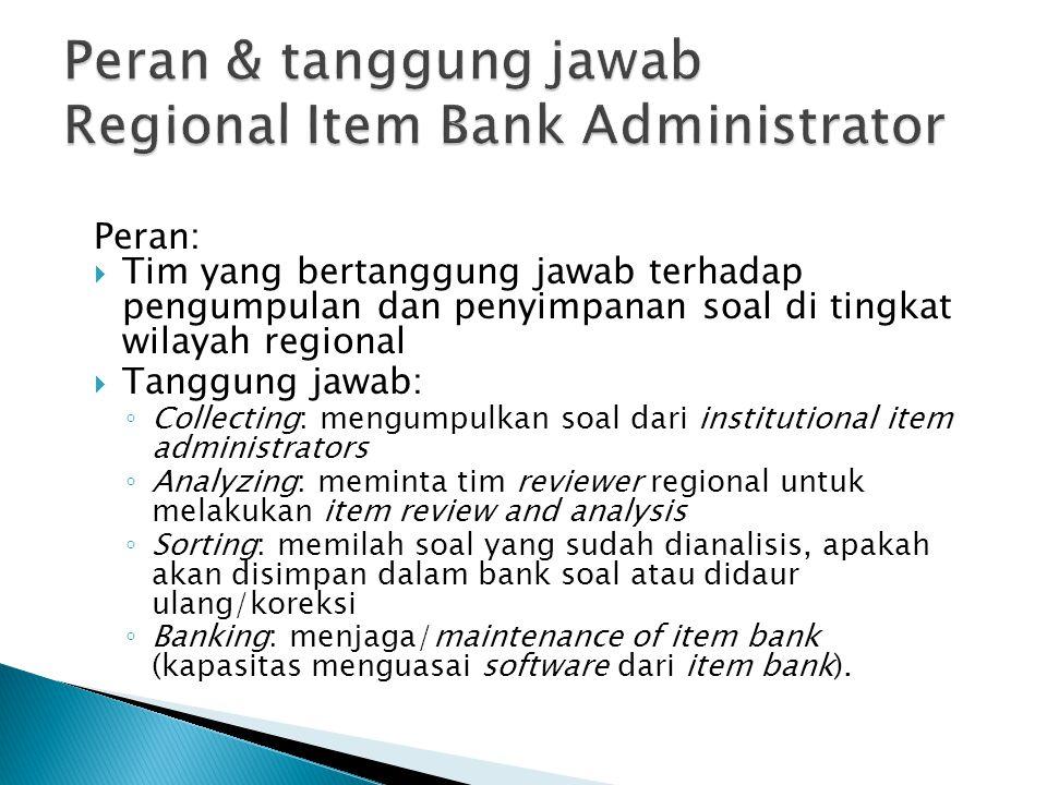 Peran:  Tim yang bertanggung jawab terhadap pengumpulan dan penyimpanan soal di tingkat wilayah regional  Tanggung jawab: ◦ Collecting: mengumpulkan