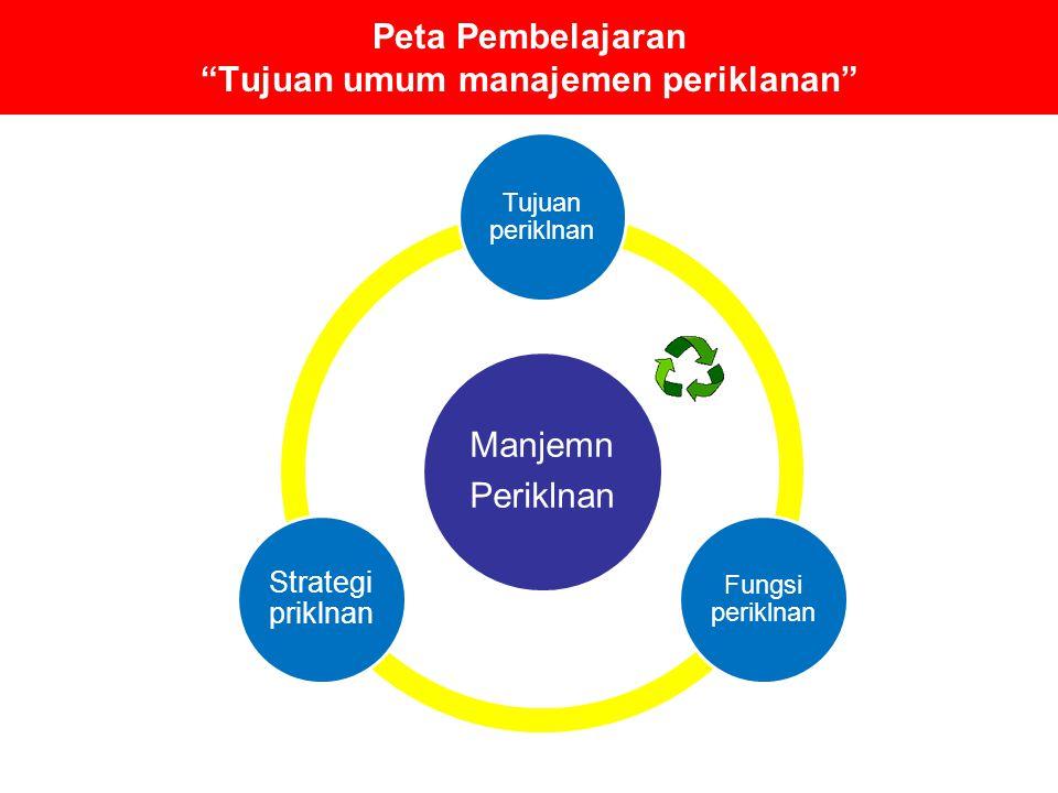 """Peta Pembelajaran """"Tujuan umum manajemen periklanan"""" Manjemn Periklnan Tujuan periklnan Fungsi periklnan Strategi priklnan"""