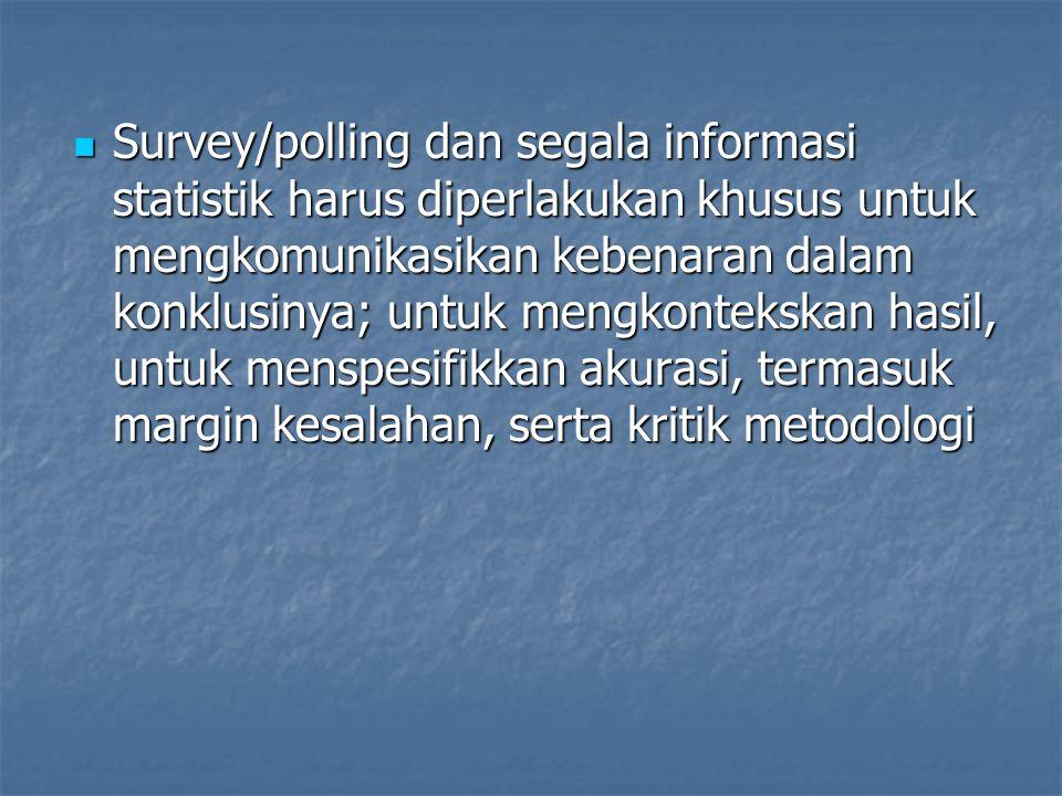 Survey/polling dan segala informasi statistik harus diperlakukan khusus untuk mengkomunikasikan kebenaran dalam konklusinya; untuk mengkontekskan hasi
