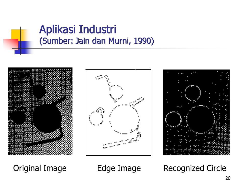 20 Aplikasi Industri (Sumber: Jain dan Murni, 1990) Original Image Edge Image Recognized Circle