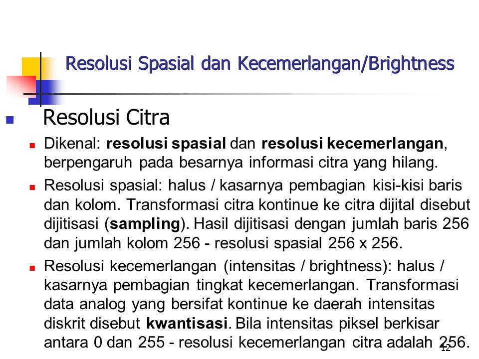 12 Resolusi Spasial dan Kecemerlangan/Brightness Resolusi Citra Dikenal: resolusi spasial dan resolusi kecemerlangan, berpengaruh pada besarnya informasi citra yang hilang.