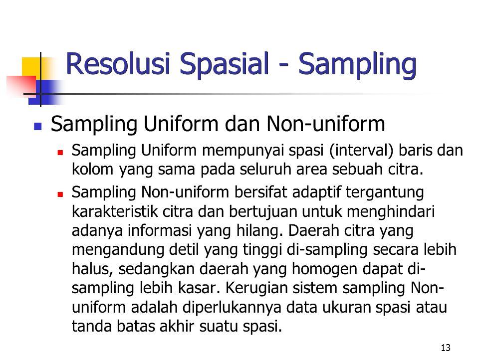 13 Resolusi Spasial - Sampling Sampling Uniform dan Non-uniform Sampling Uniform mempunyai spasi (interval) baris dan kolom yang sama pada seluruh area sebuah citra.