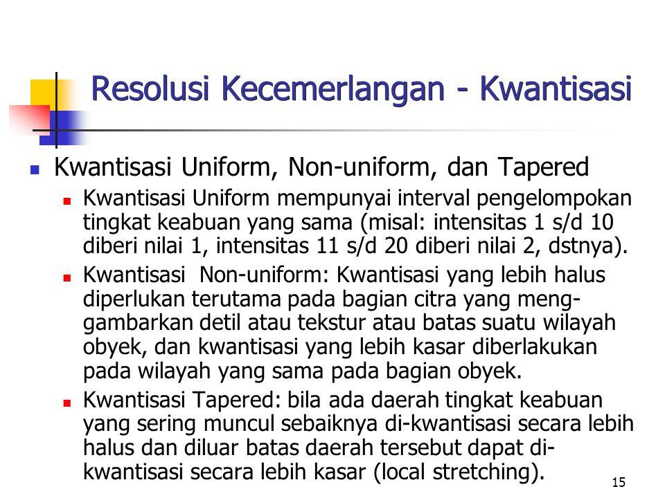 15 Resolusi Kecemerlangan - Kwantisasi Kwantisasi Uniform, Non-uniform, dan Tapered Kwantisasi Uniform mempunyai interval pengelompokan tingkat keabuan yang sama (misal: intensitas 1 s/d 10 diberi nilai 1, intensitas 11 s/d 20 diberi nilai 2, dstnya).