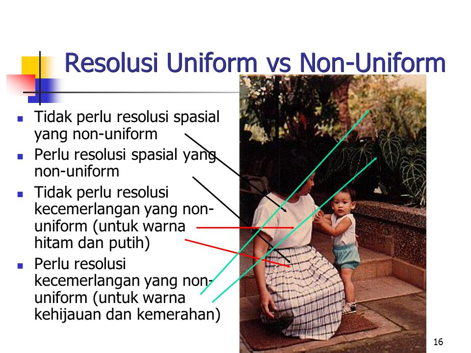 16 Resolusi Uniform vs Non-Uniform Tidak perlu resolusi spasial yang non-uniform Perlu resolusi spasial yang non-uniform Tidak perlu resolusi kecemerlangan yang non- uniform (untuk warna hitam dan putih) Perlu resolusi kecemerlangan yang non- uniform (untuk warna kehijauan dan kemerahan)