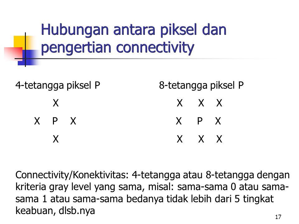 17 Hubungan antara piksel dan pengertian connectivity 4-tetangga piksel P 8-tetangga piksel P X X X X X P X X P X X X X X Connectivity/Konektivitas: 4-tetangga atau 8-tetangga dengan kriteria gray level yang sama, misal: sama-sama 0 atau sama- sama 1 atau sama-sama bedanya tidak lebih dari 5 tingkat keabuan, dlsb.nya