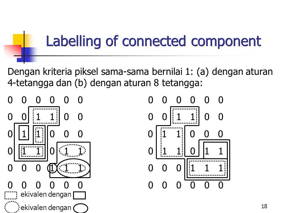 18 Labelling of connected component Dengan kriteria piksel sama-sama bernilai 1: (a) dengan aturan 4-tetangga dan (b) dengan aturan 8 tetangga: 0 0 0 0 0 0 0 0 1 1 0 0 0 1 1 0 0 0 0 1 1 0 1 1 0 0 0 1 1 1 0 0 0 0 0 0 ekivalen dengan