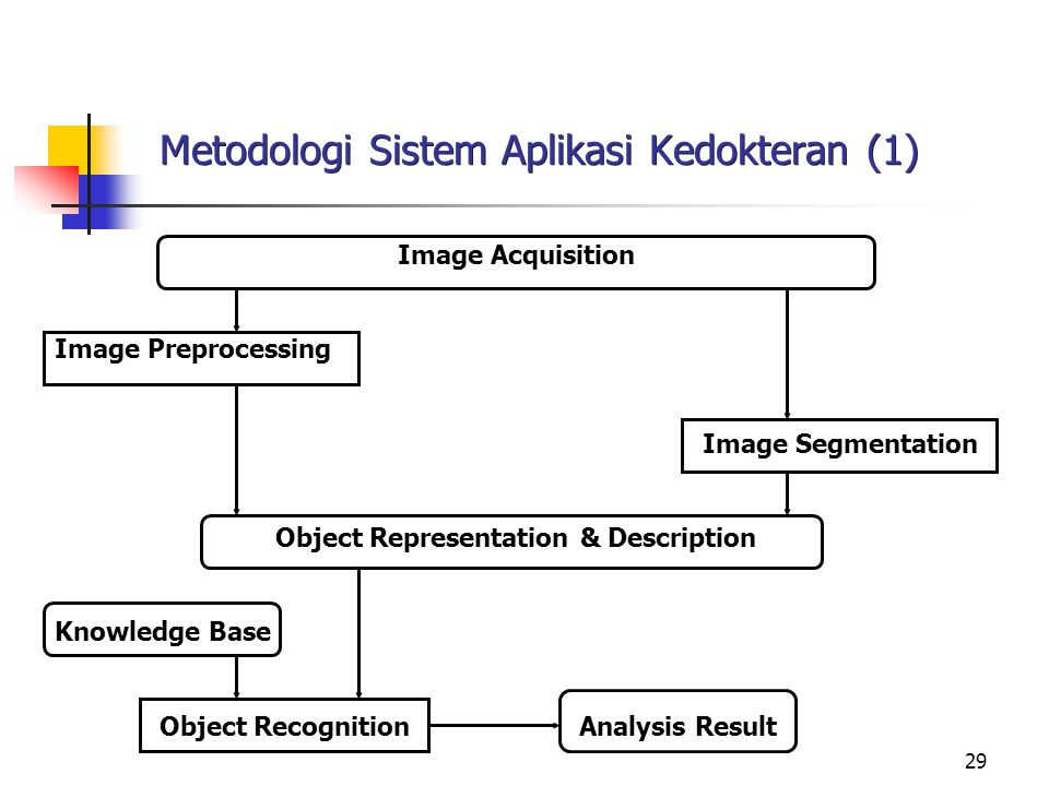 29 Metodologi Sistem Aplikasi Kedokteran (1) Image Acquisition Image Preprocessing Image Segmentation Object Representation & Description Knowledge Base Object RecognitionAnalysis Result