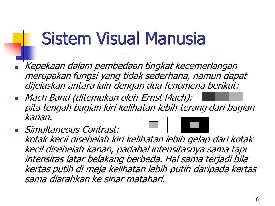 6 Sistem Visual Manusia Kepekaan dalam pembedaan tingkat kecemerlangan merupakan fungsi yang tidak sederhana, namun dapat dijelaskan antara lain dengan dua fenomena berikut: Mach Band (ditemukan oleh Ernst Mach): pita tengah bagian kiri kelihatan lebih terang dari bagian kanan.