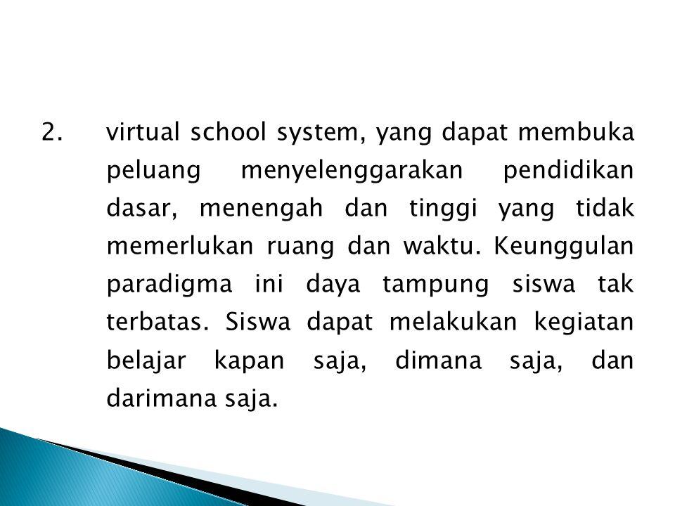 2.virtual school system, yang dapat membuka peluang menyelenggarakan pendidikan dasar, menengah dan tinggi yang tidak memerlukan ruang dan waktu. Keun