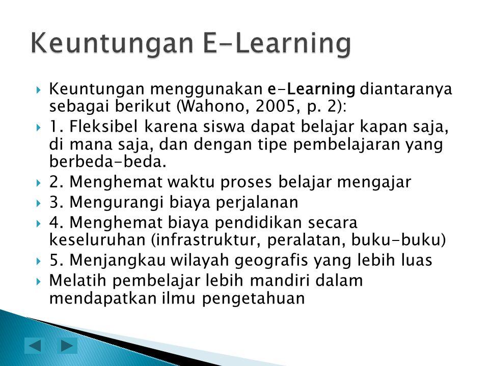 KKeuntungan menggunakan e-Learning diantaranya sebagai berikut (Wahono, 2005, p. 2): 11. Fleksibel karena siswa dapat belajar kapan saja, di mana
