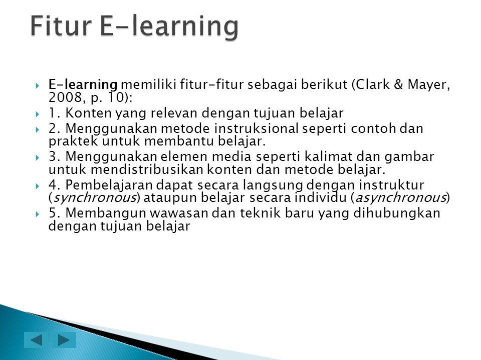  E-learning memiliki fitur-fitur sebagai berikut (Clark & Mayer, 2008, p. 10):  1. Konten yang relevan dengan tujuan belajar  2. Menggunakan metode
