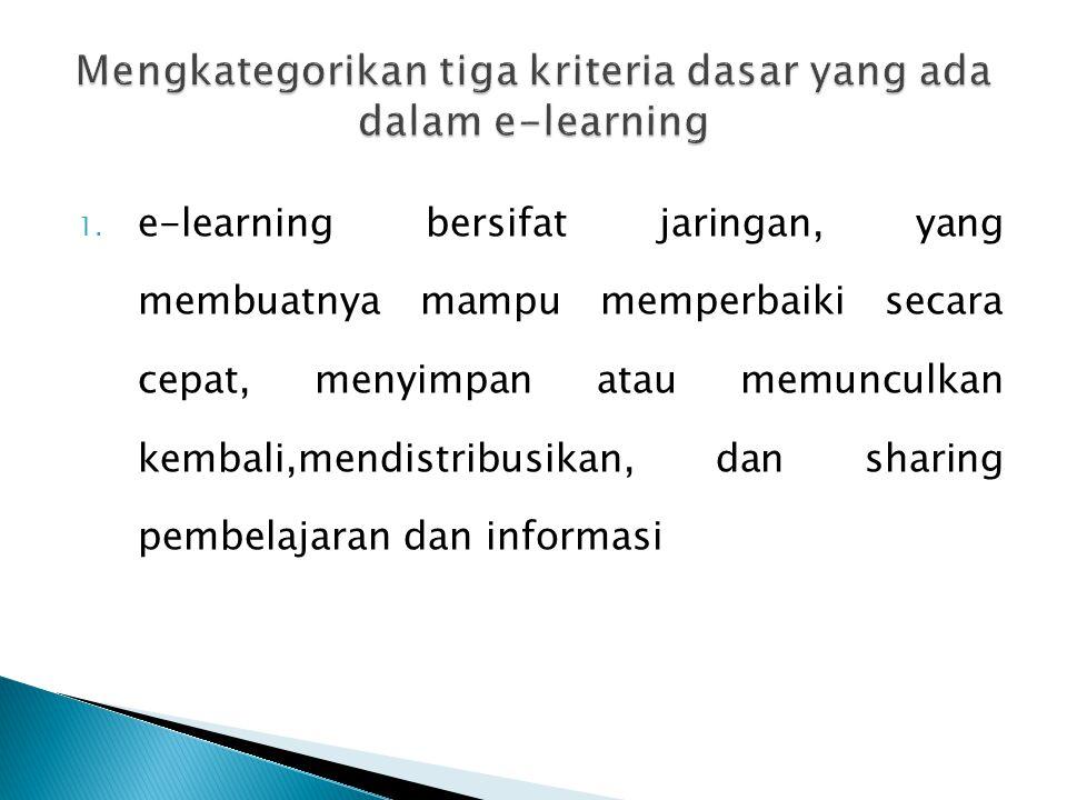1. e-learning bersifat jaringan, yang membuatnya mampu memperbaiki secara cepat, menyimpan atau memunculkan kembali,mendistribusikan, dan sharing pemb