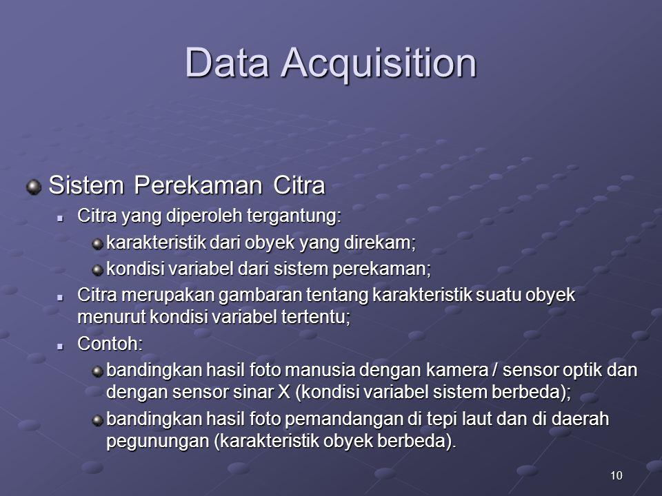 10 Data Acquisition Sistem Perekaman Citra Citra yang diperoleh tergantung: Citra yang diperoleh tergantung: karakteristik dari obyek yang direkam; ko