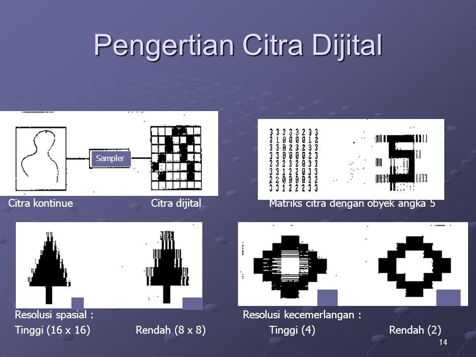 14 Pengertian Citra Dijital Sampler Citra kontinue Citra dijital Matriks citra dengan obyek angka 5 Resolusi spasial :Resolusi kecemerlangan : Tinggi