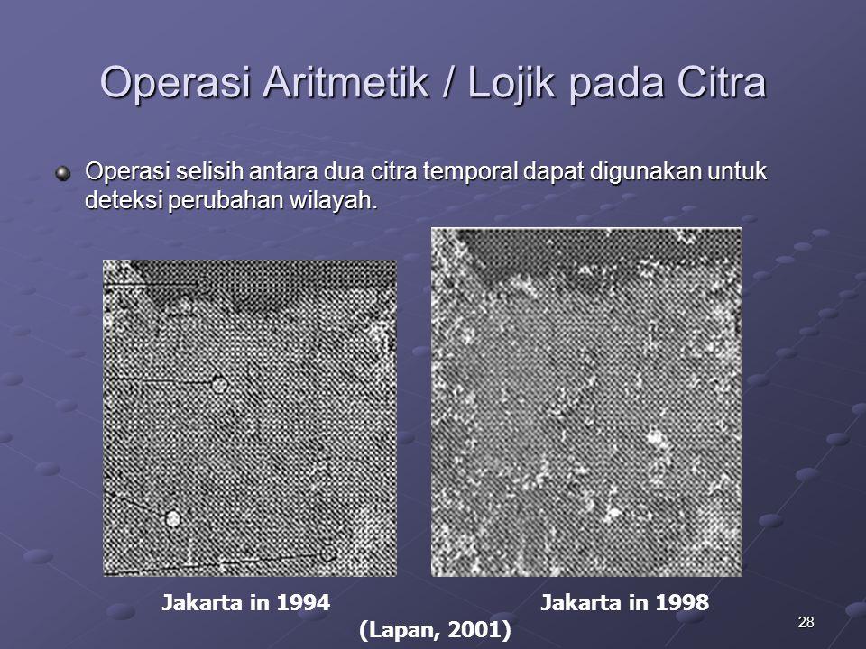 28 Operasi Aritmetik / Lojik pada Citra Operasi selisih antara dua citra temporal dapat digunakan untuk deteksi perubahan wilayah. Jakarta in 1994 Jak