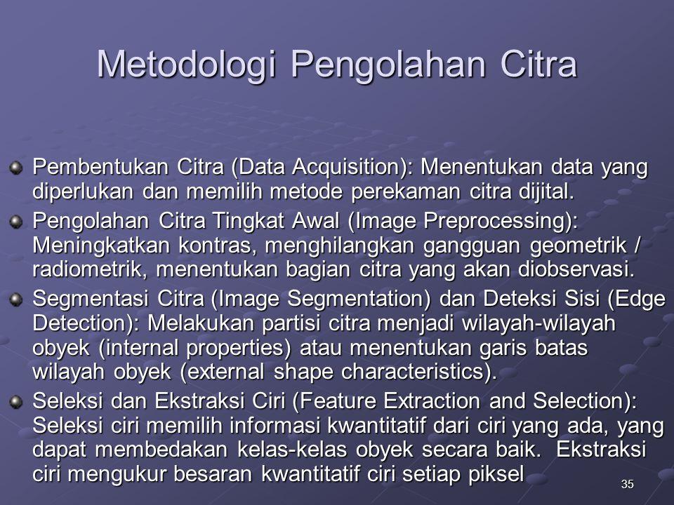 35 Metodologi Pengolahan Citra Pembentukan Citra (Data Acquisition): Menentukan data yang diperlukan dan memilih metode perekaman citra dijital. Pengo