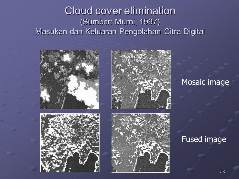 53 Cloud cover elimination (Sumber: Murni, 1997) Masukan dan Keluaran Pengolahan Citra Digital Mosaic image Fused image