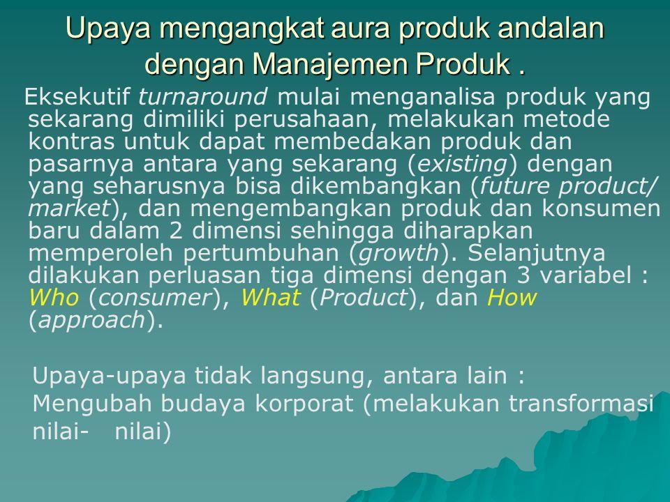 Produk Andalan Faktor-faktor Produk andalan kehilangan auranya jika : 1.