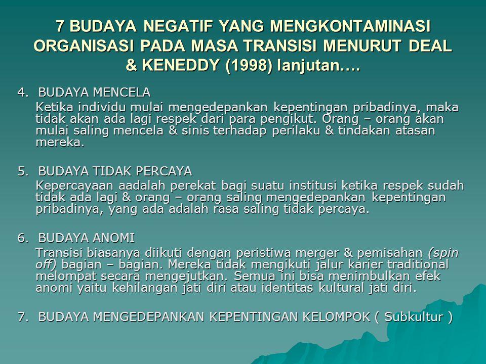 7 BUDAYA NEGATIF YANG MENGKONTAMINASI ORGANISASI PADA MASA TRANSISI MENURUT DEAL & KENEDDY (1998) 1. BUDAYA KETAKUTAN Perubahan menimbulkan rasa tidak