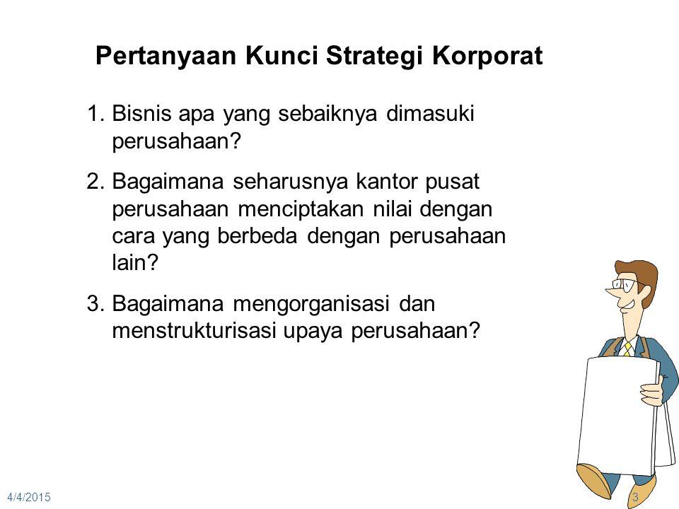 4/4/20153 Pertanyaan Kunci Strategi Korporat 1.Bisnis apa yang sebaiknya dimasuki perusahaan? 2.Bagaimana seharusnya kantor pusat perusahaan menciptak