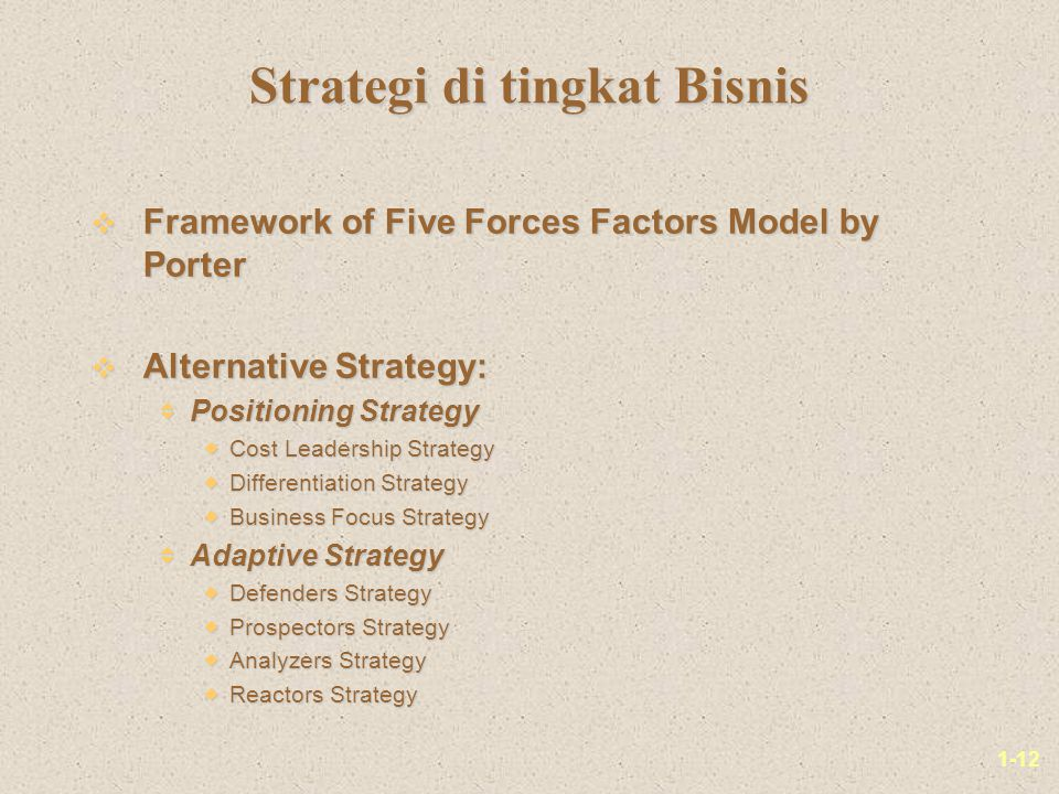1-12 v Framework of Five Forces Factors Model by Porter v Alternative Strategy:  Positioning Strategy  Cost Leadership Strategy  Differentiation St
