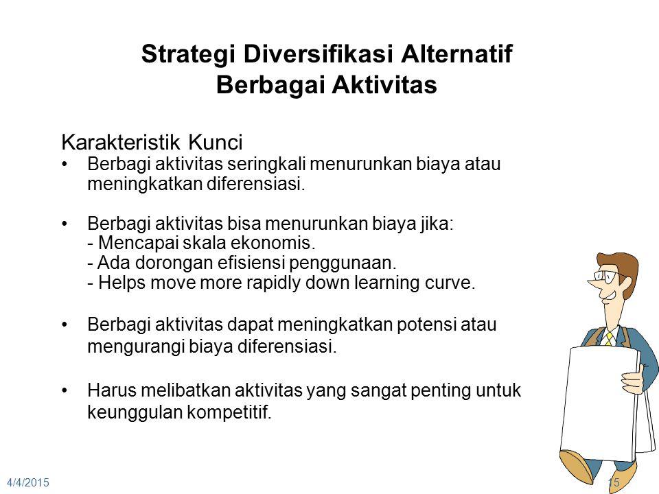 4/4/201515 Strategi Diversifikasi Alternatif Berbagai Aktivitas Karakteristik Kunci Berbagi aktivitas seringkali menurunkan biaya atau meningkatkan di