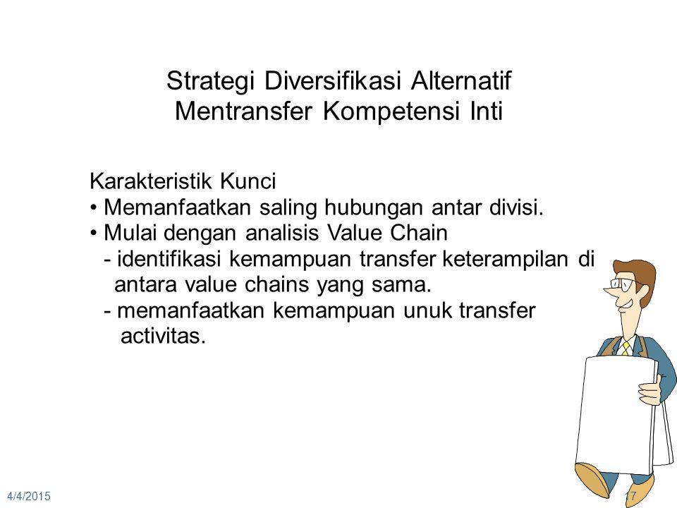 4/4/201517 Strategi Diversifikasi Alternatif Mentransfer Kompetensi Inti Karakteristik Kunci Memanfaatkan saling hubungan antar divisi. Mulai dengan a
