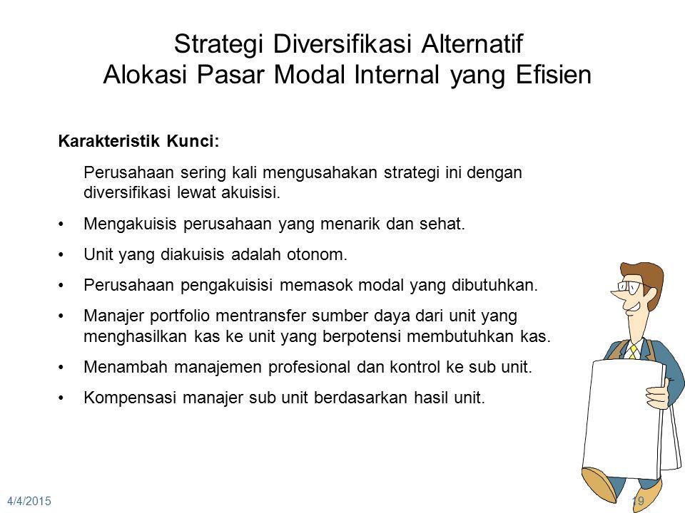4/4/201519 Strategi Diversifikasi Alternatif Alokasi Pasar Modal Internal yang Efisien Karakteristik Kunci: Perusahaan sering kali mengusahakan strate