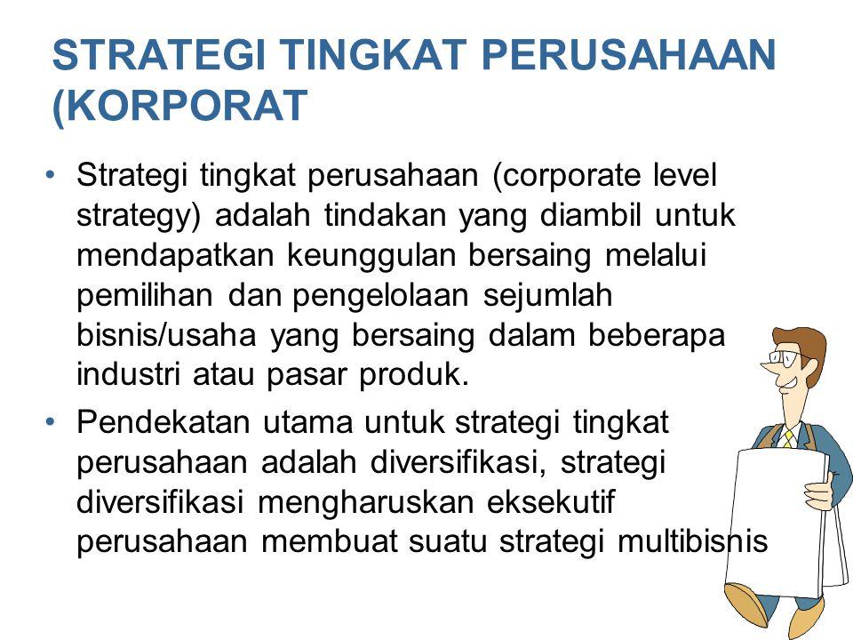 STRATEGI TINGKAT PERUSAHAAN (KORPORAT Strategi tingkat perusahaan (corporate level strategy) adalah tindakan yang diambil untuk mendapatkan keunggulan