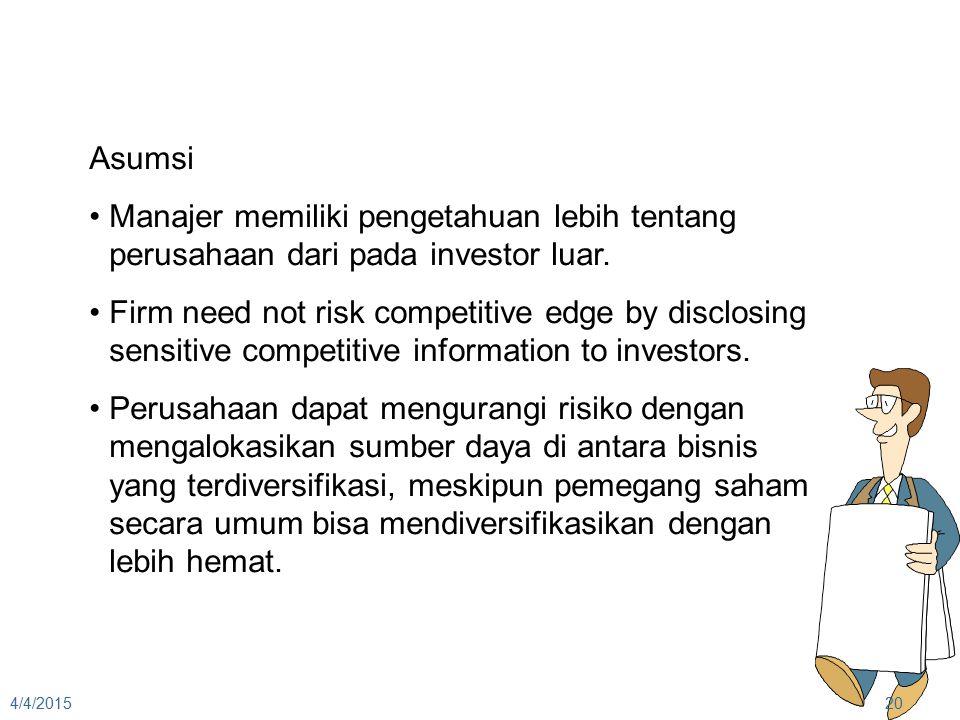 4/4/201520 Asumsi Manajer memiliki pengetahuan lebih tentang perusahaan dari pada investor luar. Firm need not risk competitive edge by disclosing sen