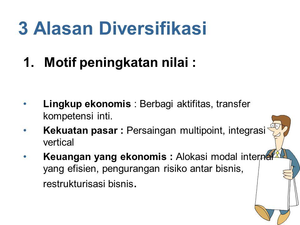 3 Alasan Diversifikasi Lingkup ekonomis : Berbagi aktifitas, transfer kompetensi inti. Kekuatan pasar : Persaingan multipoint, integrasi vertical Keua
