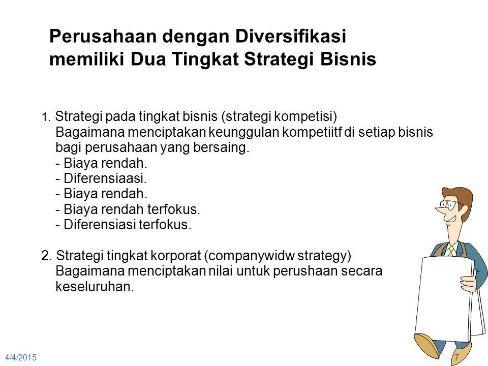 4/4/20157 Perusahaan dengan Diversifikasi memiliki Dua Tingkat Strategi Bisnis 1. Strategi pada tingkat bisnis (strategi kompetisi) Bagaimana mencipta