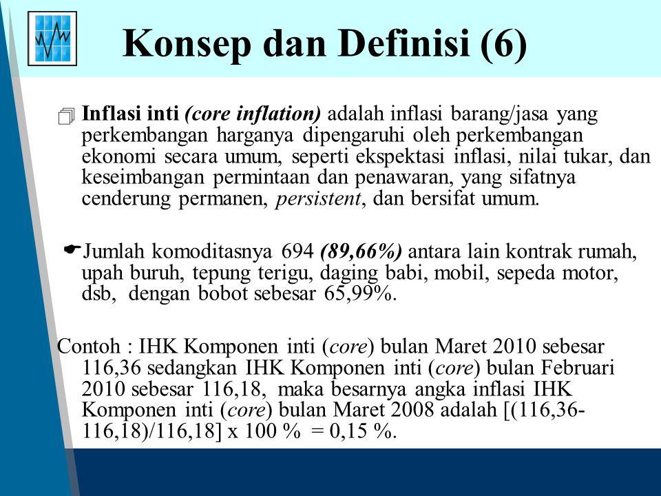 Konsep dan Definisi (6)  Inflasi inti (core inflation) adalah inflasi barang/jasa yang perkembangan harganya dipengaruhi oleh perkembangan ekonomi secara umum, seperti ekspektasi inflasi, nilai tukar, dan keseimbangan permintaan dan penawaran, yang sifatnya cenderung permanen, persistent, dan bersifat umum.
