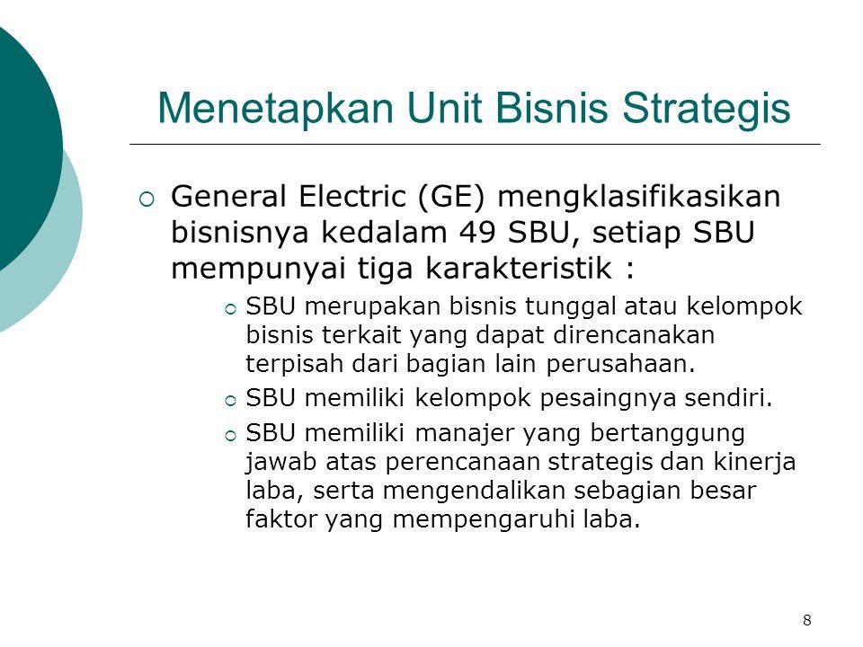 8 Menetapkan Unit Bisnis Strategis  General Electric (GE) mengklasifikasikan bisnisnya kedalam 49 SBU, setiap SBU mempunyai tiga karakteristik :  SB