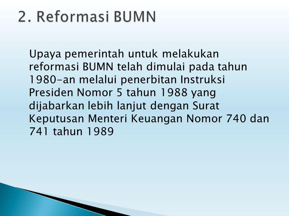 Upaya pemerintah untuk melakukan reformasi BUMN telah dimulai pada tahun 1980-an melalui penerbitan Instruksi Presiden Nomor 5 tahun 1988 yang dijabar