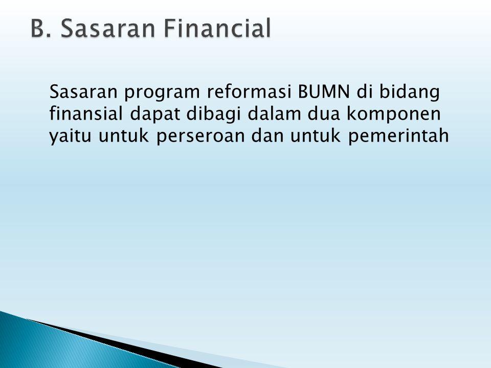 Sasaran program reformasi BUMN di bidang finansial dapat dibagi dalam dua komponen yaitu untuk perseroan dan untuk pemerintah