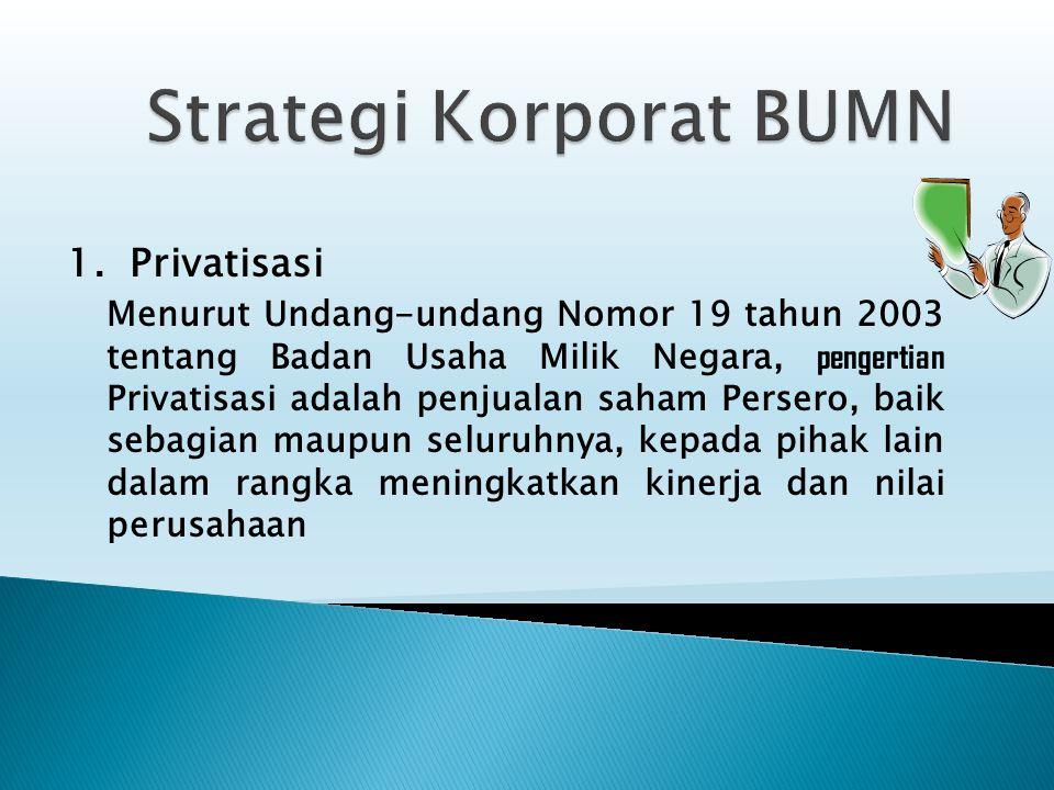 1. Privatisasi Menurut Undang-undang Nomor 19 tahun 2003 tentang Badan Usaha Milik Negara, pengertian Privatisasi adalah penjualan saham Persero, baik