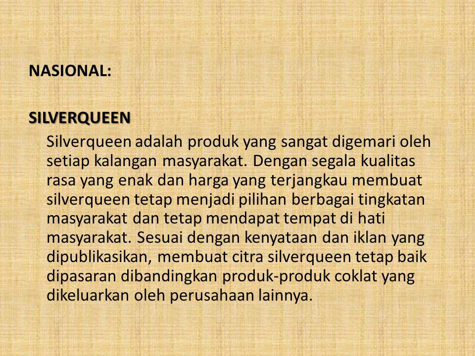 NASIONAL:SILVERQUEEN Silverqueen adalah produk yang sangat digemari oleh setiap kalangan masyarakat. Dengan segala kualitas rasa yang enak dan harga y