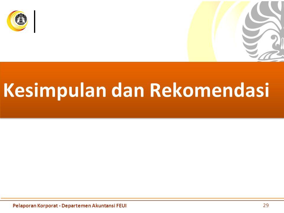 Kesimpulan dan Rekomendasi 29 Pelaporan Korporat - Departemen Akuntansi FEUI