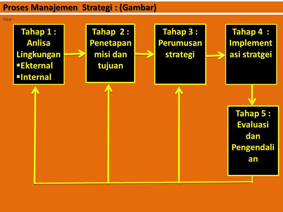 5. Evaluasi dan pengendalian : Bagian terahir dari proses manajemen strategi adalah evaluasi dan pengendalian. Jadi evaluasi strategi adalah proseses