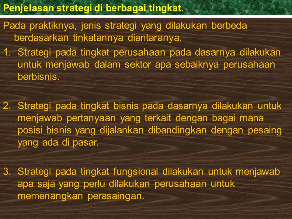 Tigatingkatan Strategi (Erni : 134) Gambar : Multi businees corporation Stratetegi di tingkat perusahaah Strategi Business Unit Strategi Business Unit