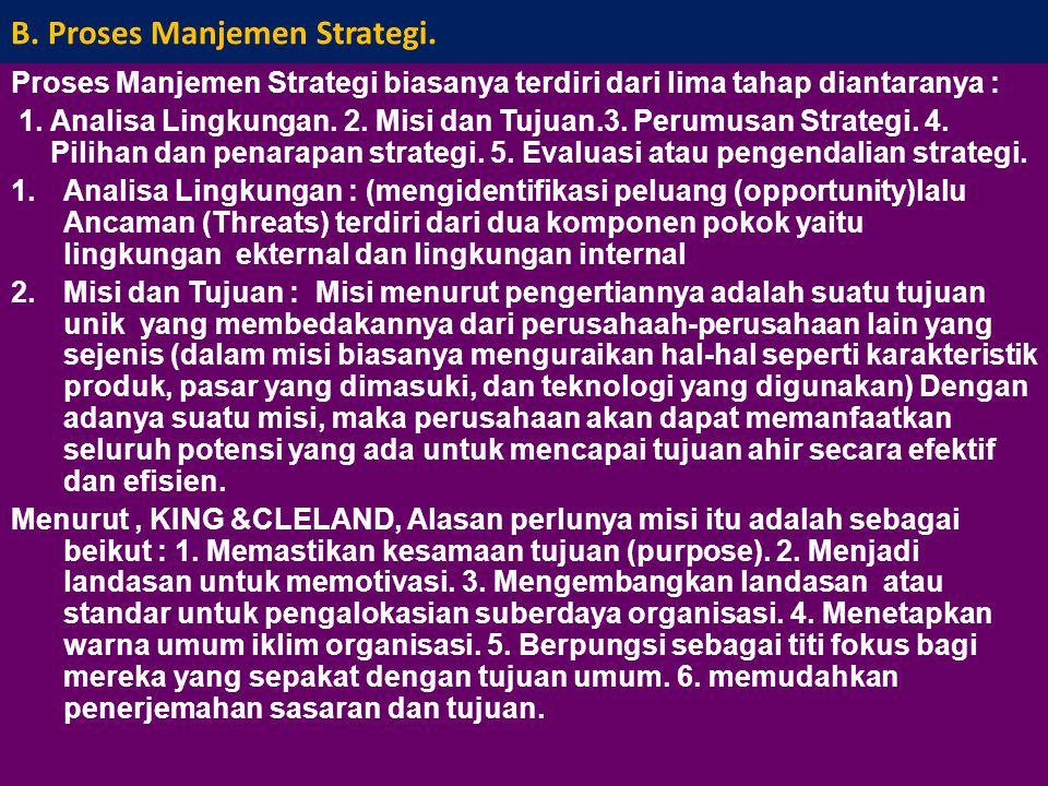 B.Proses Manjemen Strategi.