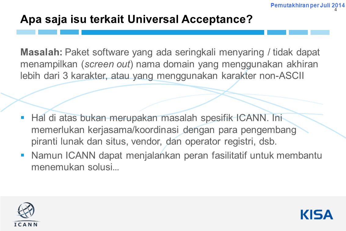 4 Pemutakhiran per Juli 2014 Masalah: Paket software yang ada seringkali menyaring / tidak dapat menampilkan (screen out) nama domain yang menggunakan