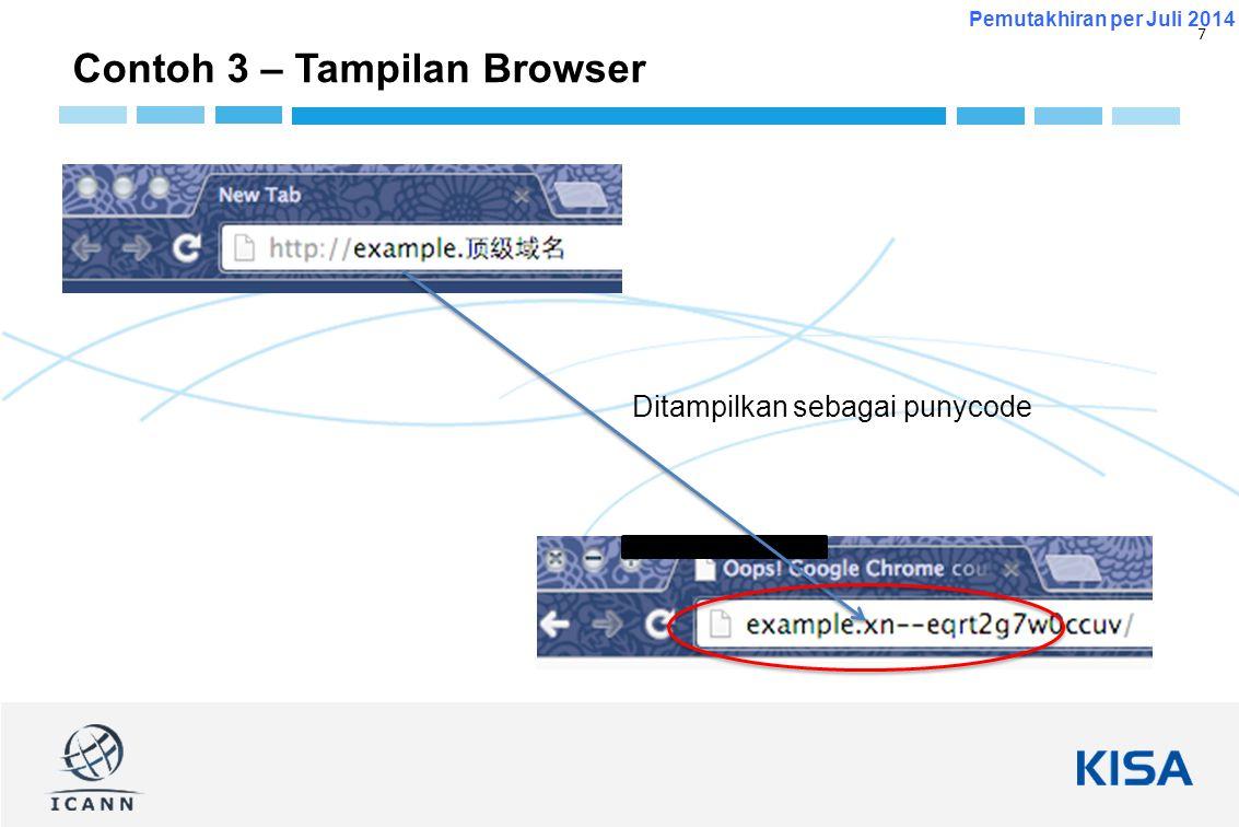 7 Pemutakhiran per Juli 2014 Contoh 3 – Tampilan Browser Ditampilkan sebagai punycode