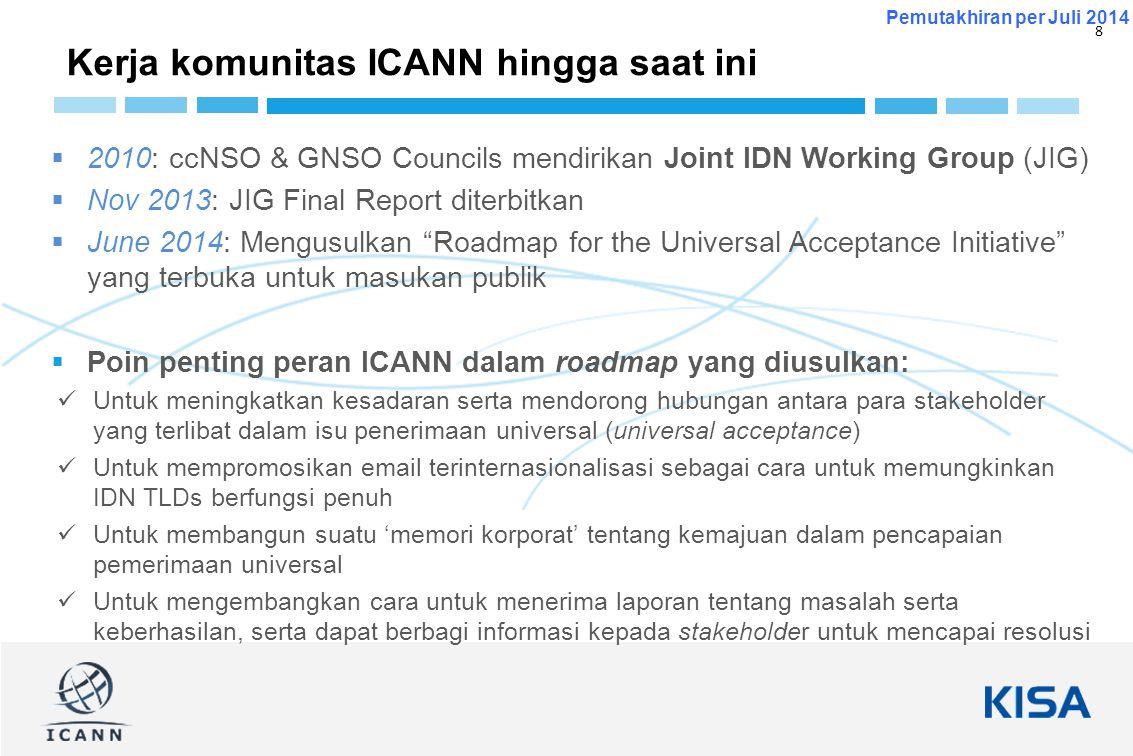 8 Pemutakhiran per Juli 2014  2010: ccNSO & GNSO Councils mendirikan Joint IDN Working Group (JIG)  Nov 2013: JIG Final Report diterbitkan  June 20