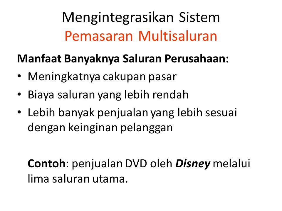 Mengintegrasikan Sistem Pemasaran Multisaluran Manfaat Banyaknya Saluran Perusahaan: Meningkatnya cakupan pasar Biaya saluran yang lebih rendah Lebih banyak penjualan yang lebih sesuai dengan keinginan pelanggan Contoh: penjualan DVD oleh Disney melalui lima saluran utama.