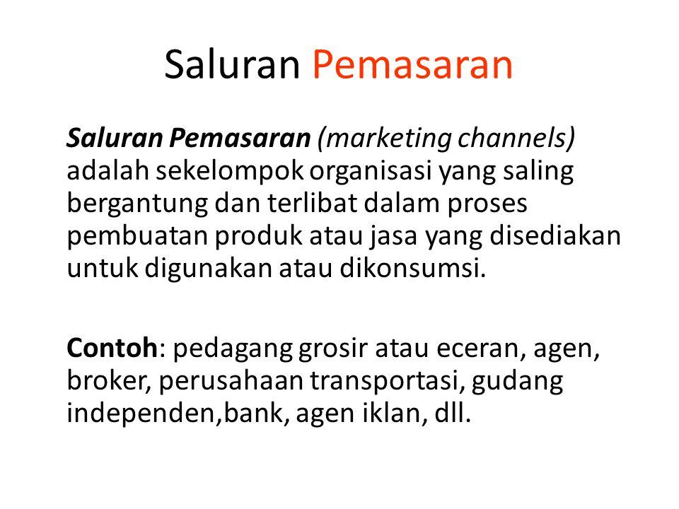 Saluran Pemasaran Saluran Pemasaran (marketing channels) adalah sekelompok organisasi yang saling bergantung dan terlibat dalam proses pembuatan produ