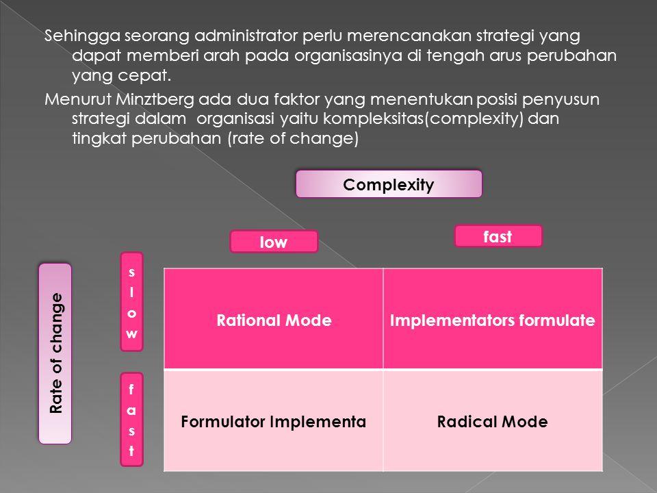 Sehingga seorang administrator perlu merencanakan strategi yang dapat memberi arah pada organisasinya di tengah arus perubahan yang cepat. Menurut Min